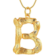 Gold Bamboo Alphabet / Letter Necklace - B