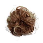 Messy Bun hair elastics with curly artificial hair - Blond / copper mix