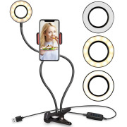 Selfie Ring Light with LED light, brightness control + flexible arms