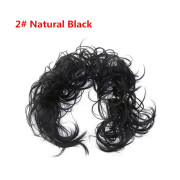 Messy Curly Hair Bun #2 - Natural Black