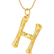 Gold Bamboo Alphabet / letter necklace - H
