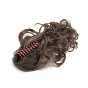 Ponytail Extensions with hair claw, Curly - brown #4