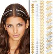 Flash Hair Tattoo - Silver and Gold HT205