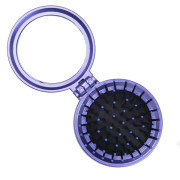 Compact Make-Up Mirror with Brush Purple