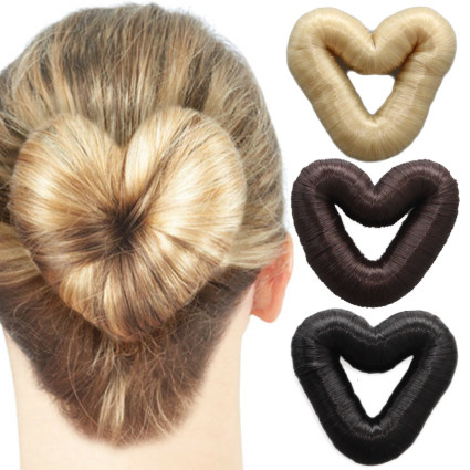 5 cm Love Heart Hair Donut witth fake hair - multiple colors