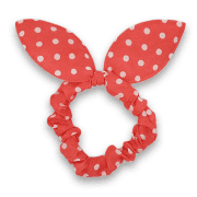 Scrunchie with bow | pink with white dots