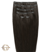 Clip on hair extensions #2 Dark Brown - 7 pieces - 60 cm | Gold24