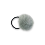 Pom Pom Fur Hair Elastic - Grey