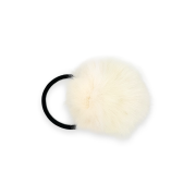 Pom Pom Fur Hair Elastic - White