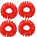 Pony O Spiral Hair elastics Red 4pcs