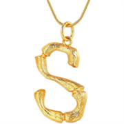 Gold Bamboo Alphabet / letter necklace - S