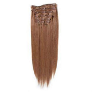 Clip on hair extensons 40 cm 30# Redbrown