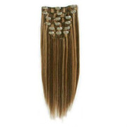 Clip on hair extensions 40 cm mix #4/27