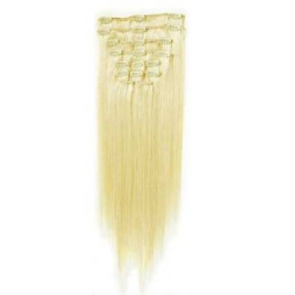 Clip on hair extensions 50 cm 60# Platin blonde