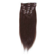 Clip on hair extensions 40 cm #2 Dark Brown