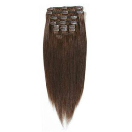 Clip on hair hair extensions 40 cm #4 chocolate brown