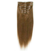 Clip on hair extensions 50 cm 6# brown