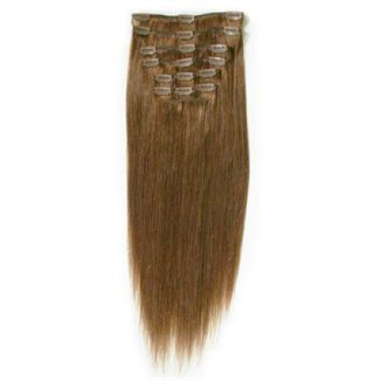 Clip on hair extensions 40 cm #6 light brown
