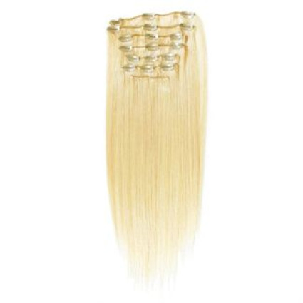 Clip on hair extensions 40 cm #613 Blonde