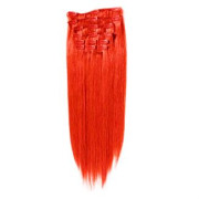 Clip on hair extensions  50 cm Total red