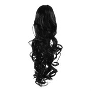 Pony tail Fiber extensions Curly Black 1#