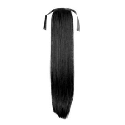 Pony tail Fiber extensions straight black 1#